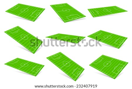 Soccer fields in different angles. 3D Soccer fields. - stock vector