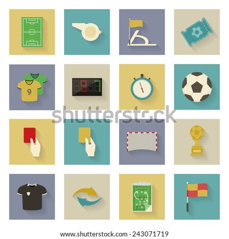 Soccer flat icons set vector graphic illustration design - stock vector