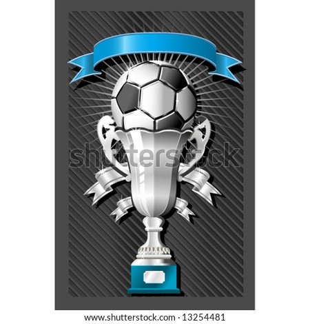 Soccer (football) ball and cup with ribbon - stock vector