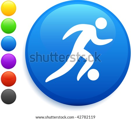 soccer (football) icon on round internet button original vector illustration 6 color versions included - stock vector