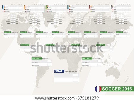 Soccer 2016, Football 2016 Match Schedule, all matches, time and place. EURO 2016. Country Flags. Size A2. - stock vector