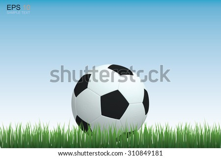 Soccer football on grass field with blue sky. Vector illustration.