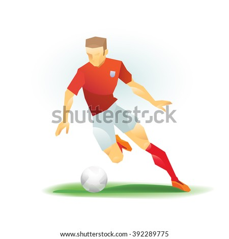 Soccer (football) player dribbles the ball across the field. Stylized. eps8
