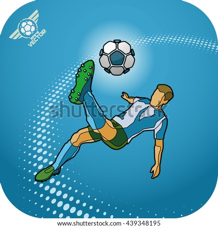 Soccer (Football) player in a jump on a ball hit his foot. Stylized cartoon with the contour. eps8 - stock vector