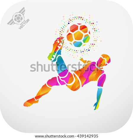 Soccer (Football) player in a jump on a ball hit his foot. Stylized. eps8 - stock vector