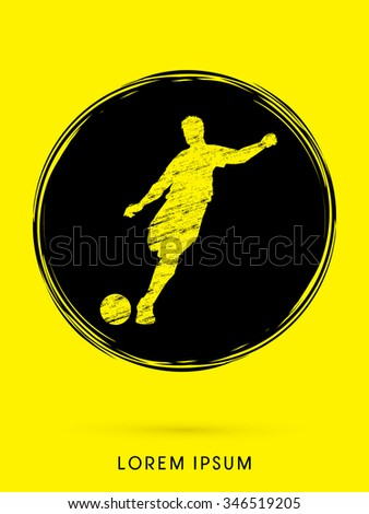 Soccer, football, player silhouette, designed on grunge circle background graphic vector. - stock vector