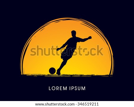 Soccer, football, player silhouette, designed on moonlight background graphic vector. - stock vector
