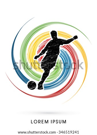 Soccer, football, player silhouette, designed using grunge brush on spin circle background graphic vector. - stock vector
