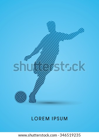 Soccer, football, player silhouette, designed using line circle graphic vector. - stock vector