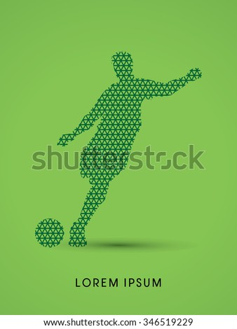 Soccer, football, player silhouette, designed using line geometric pattern graphic vector. - stock vector