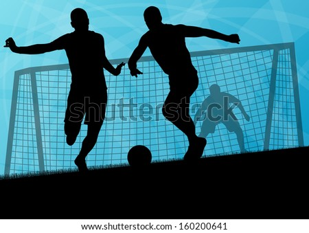 Soccer football players active sport silhouettes vector abstract background illustration - stock vector