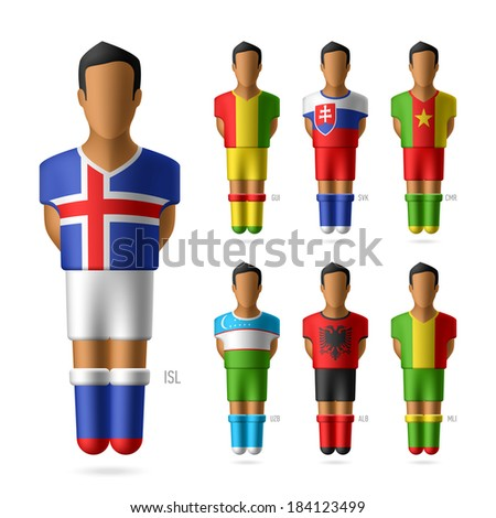 Soccer / football players in national flags uniform. Vector. - stock vector