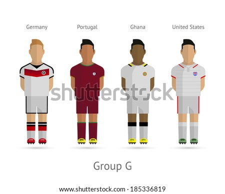 Soccer / Football team players. Group G - Germany, Portugal, Ghana, United States. Vector illustration. - stock vector