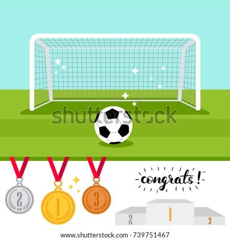 Soccer Goal Ball On Green Field Stock Vector 739751467 - Shutterstock