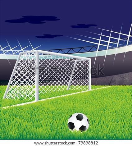 Soccer goal and stadium. - stock vector