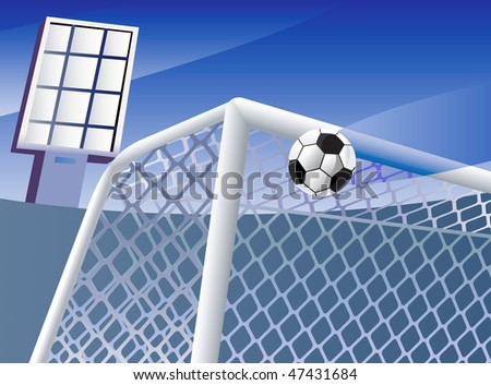 Soccer  goal, ball flying into it and abstract stadium background. Vector illustration.
