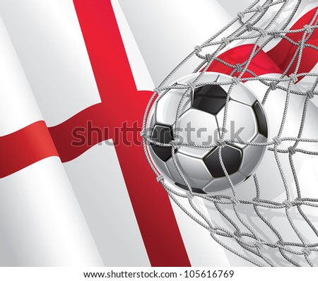 Soccer Goal. English flag with a soccer ball in a net. Vector illustration - stock vector