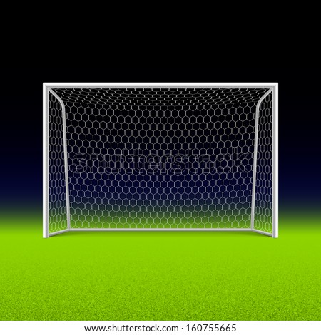 Soccer goal on black. Vector. - stock vector