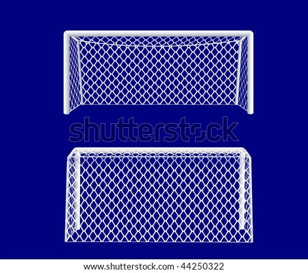 Soccer goal realistic front and back views. Vector illustration. - stock vector