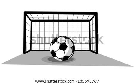Soccer goal with ball  - stock vector