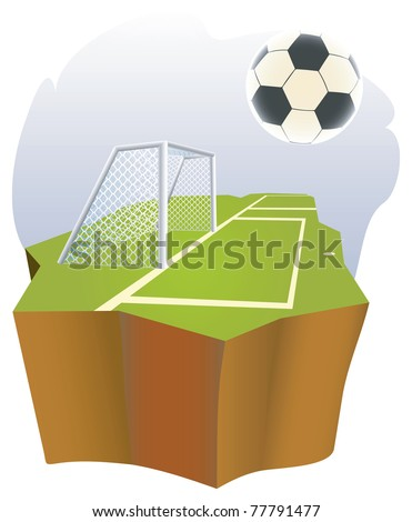 Soccer goal  with part of field. - stock vector