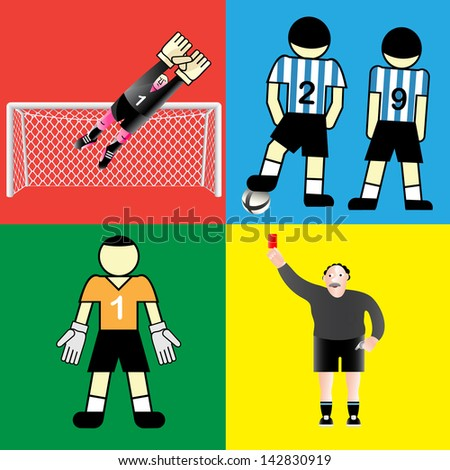 Soccer goalkeeper, players and referee. - stock vector
