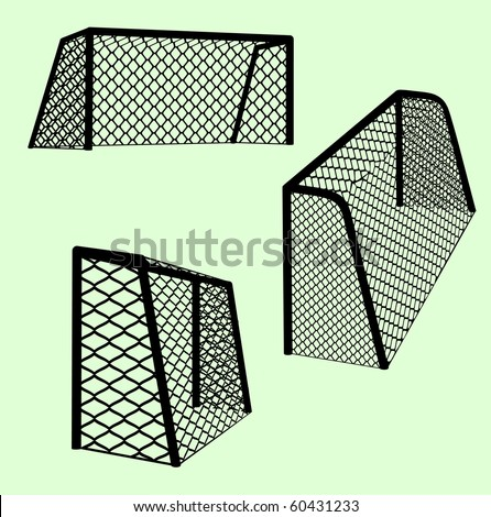 Soccer goals with realistic net and various point of view silhouettes. Vector  illustration. - stock vector
