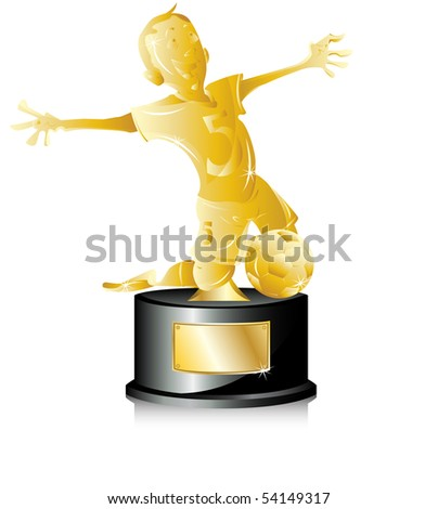Soccer Golden Trophy First Place. Editable Vector Illustration - stock vector