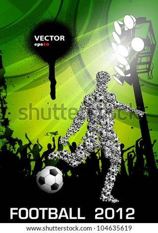 Soccer Grunge Poster with Players and Fans - stock vector