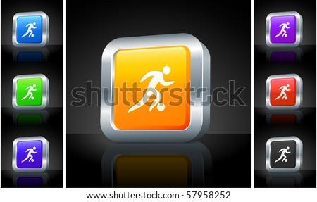 Soccer Icon on 3D Button with Metallic Rim Original Illustration - stock vector