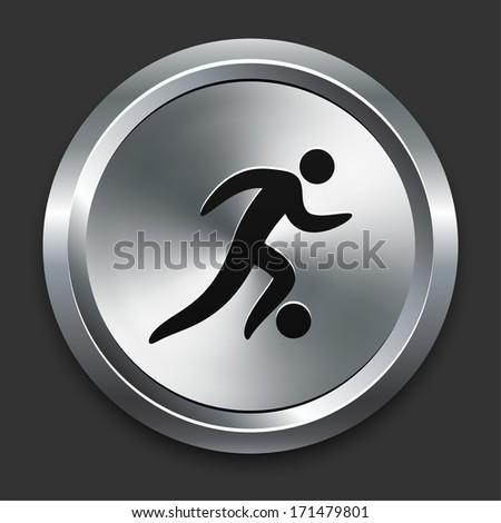 Soccer Icon on Metallic Button Collection - stock vector