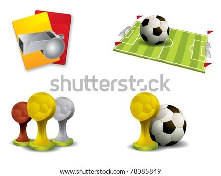 Soccer icon set vector - stock vector