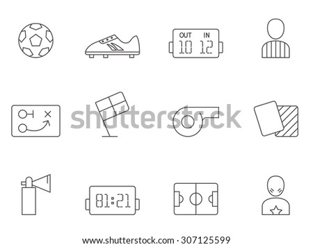 Soccer icons in thin outlines. Football, supporters, red cards. - stock vector