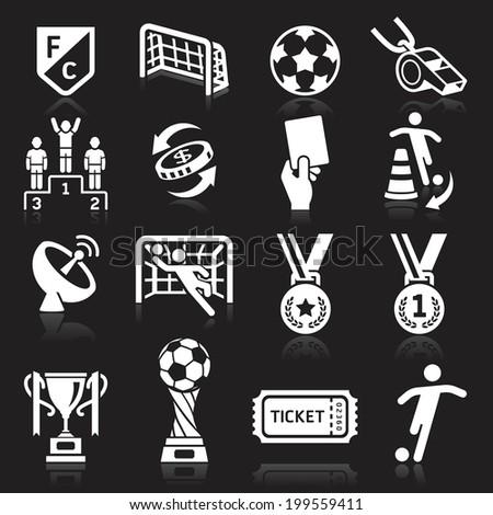 Soccer icons on black background. Vector illustration - stock vector