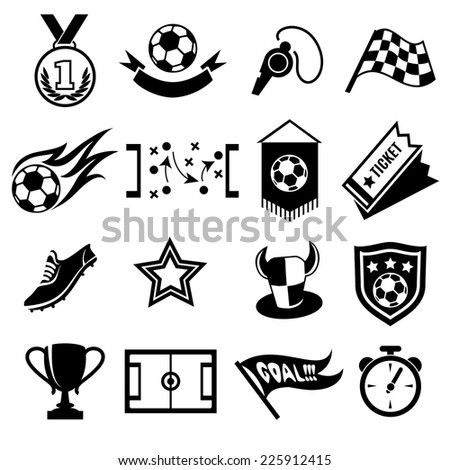 Soccer Icons, playbook and football field, tickets and fans, soccer ball and club label - stock vector