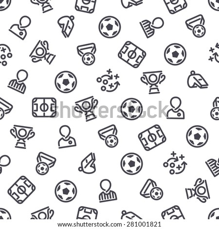 Soccer Icons Seamless Background. Editable pattern in swatches. - stock vector