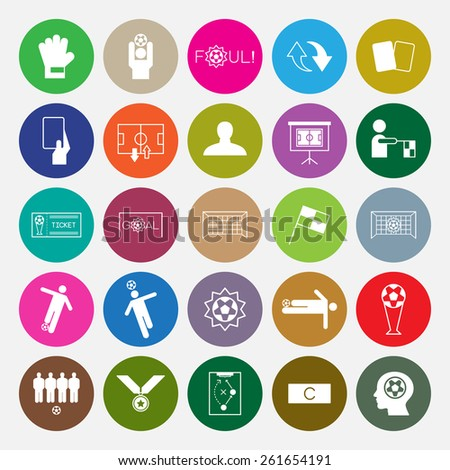 Soccer icons set circle design vector illustration - stock vector