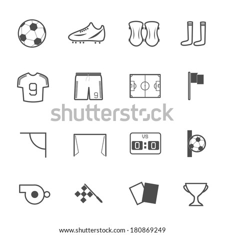 Soccer Icons set, Vector illustration - stock vector