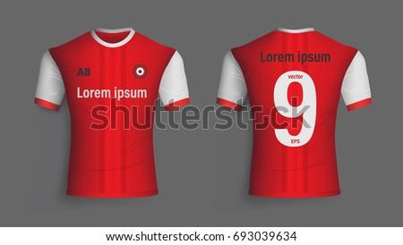Soccer Jersey Template Mock Up Football Uniform For Club Team Apparel Vector