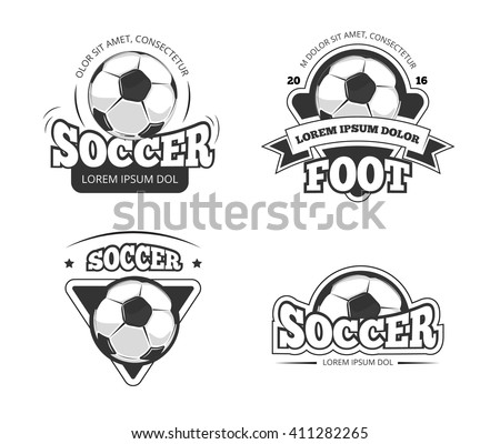 Soccer league club vector badges, labels. Soccer ball, and soccer label, badge and emblem soccer club illustration - stock vector