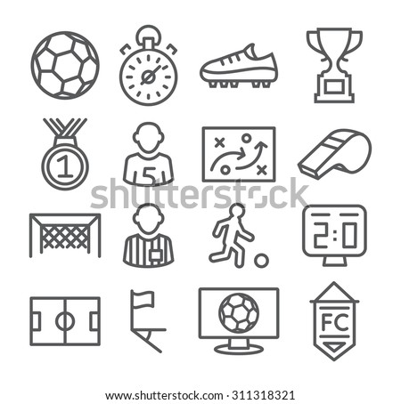 Soccer Line Icons - stock vector