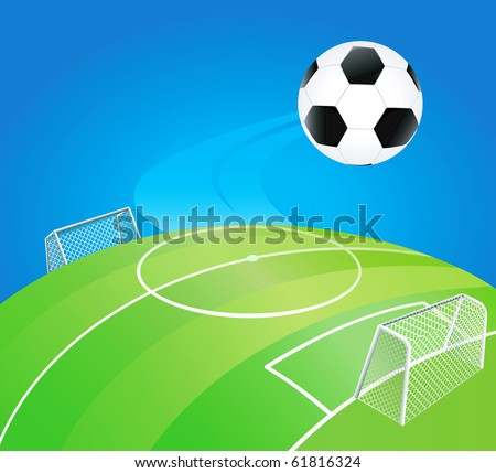 Soccer lined field on round earth with high detailed goal. - stock vector