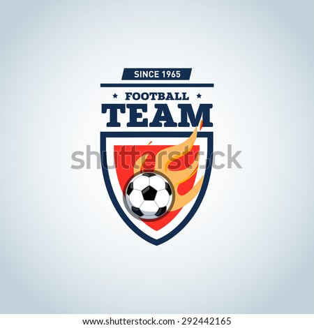 Soccer logo. Orange and dark blue soccer football badge logo design template, sport logotype template. Soccer Themed T shirt. Football logo. Vector illustration. - stock vector