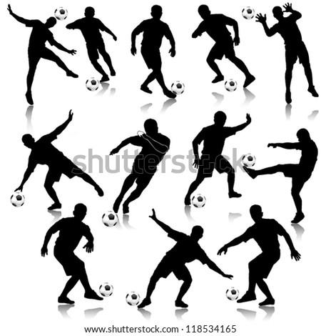 Soccer man silhouette set vector illustration - stock vector