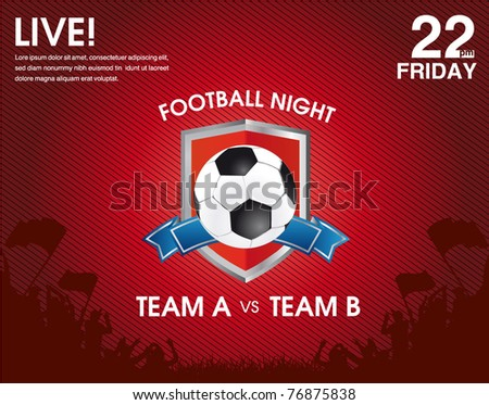 soccer match announcement poster - stock vector