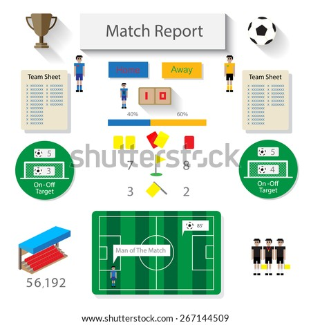 soccer match report statistic infographic - stock vector