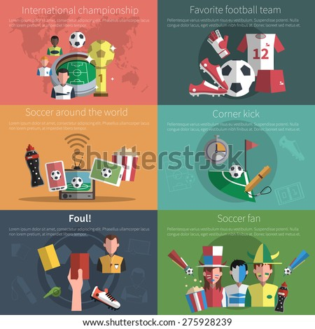 Soccer mini poster set with world championship football fan elements isolated vector illustration - stock vector