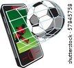 Soccer news on phone - stock vector