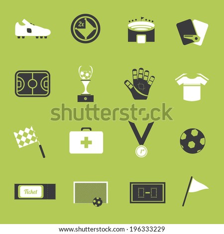 Soccer objects icon set  - stock vector