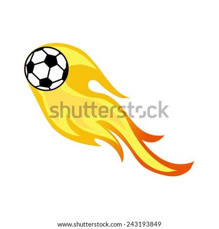 soccer on fire - stock vector
